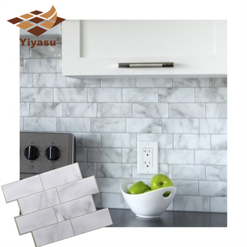 US $3.71 38% OFF|3D White Grey Marble Mosaic Peel and Stick Wall Tile Self  Adhesive Backsplash Kitchen Bathroom Home Wall Decal Sticker Vinyl-in Wall  ...