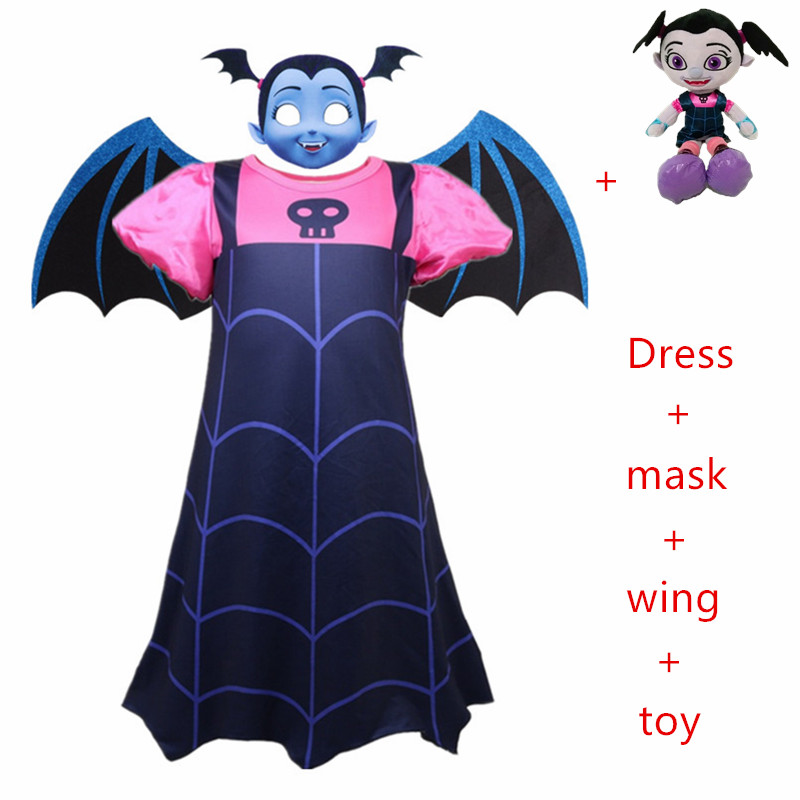 2019 New Princess Summer Dresses Girls Vampirina Cosplay Costume For Children Kids vampire Halloween Party Dresses set+wing+mask