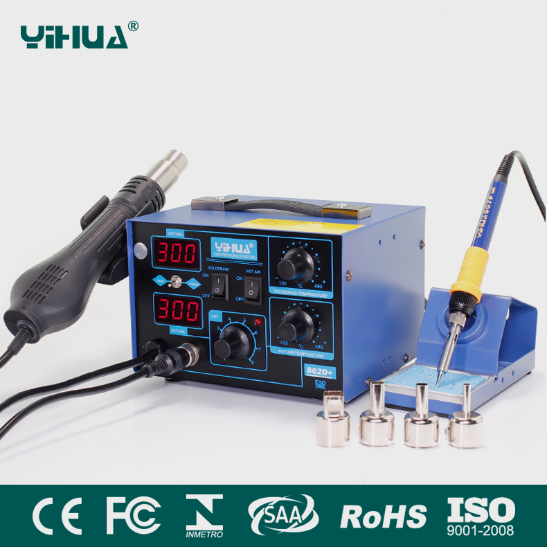 YIHUA 862D+ 2 In 1 ESD Hot Air Gun Soldering Station Welding Solder Iron For IC SMD Desoldering esd safe 75w soldering handpiece t245a solder iron handle for di3000 intelligent soldering station