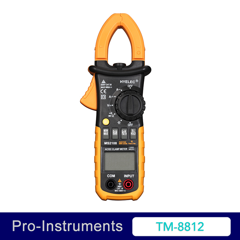 Peakmeter MS2108 AC DC Mini Digital Clamp True RMS Inrush Current Resistance Capacitance Frequency Clamp Meter 1 pcs mastech ms8269 digital auto ranging multimeter dmm test capacitance frequency worldwide store