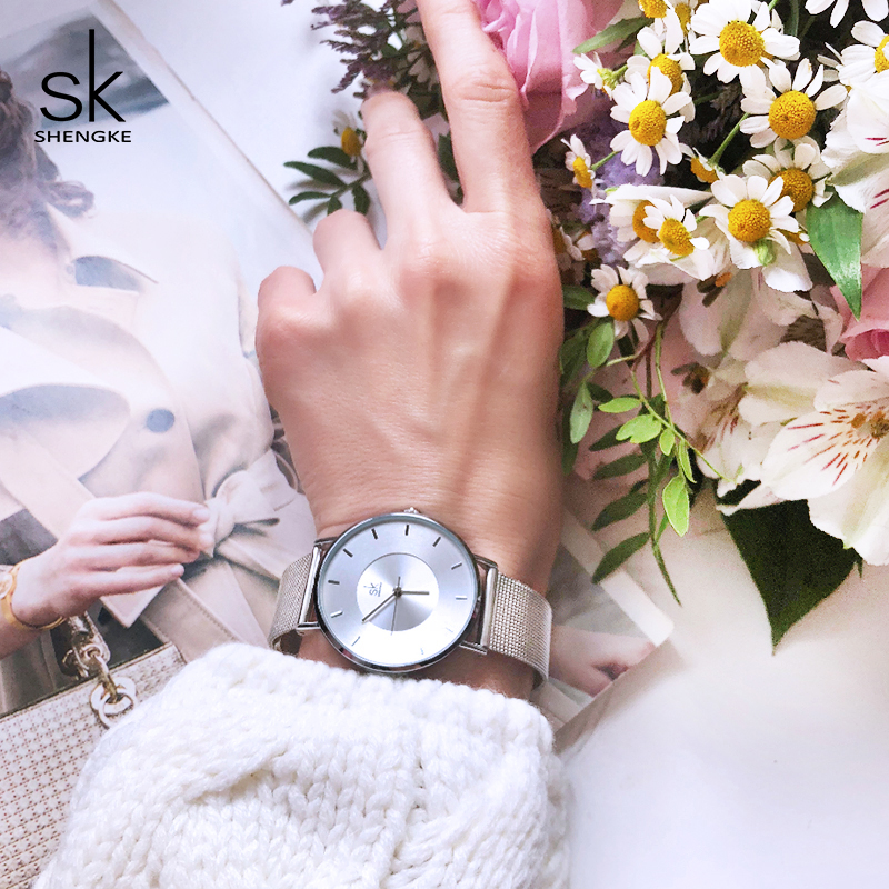 Shengke 7MM Ultra Thin Dial Women Fashion Watches Top Brand Luxury Quartz Ladies Watches Reloj Mujer 2018 SK Women Wrist Watch shengke brand fashion watches women casual leather strap female quartz watch reloj mujer 2018 sk women wrist watch k8025