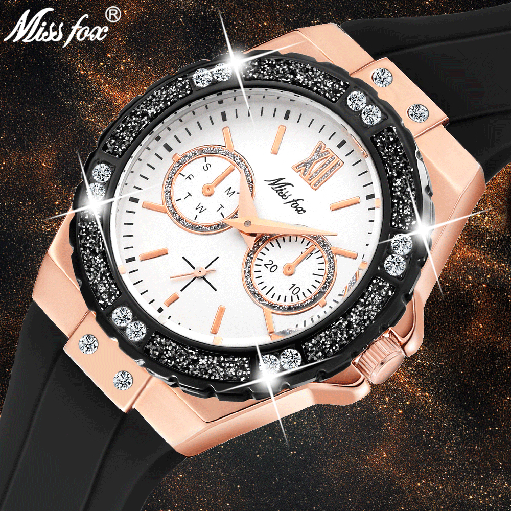 MISSFOX Women Quartz Watch Fashion Luxury Brand Rose Gold Bling Ladies Watch Diamond Black Rubber Band Female Clock Xfcs 2020