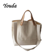 Youda New Ladies Casual Canvas Bag Simple Style Shopping Handbag Classic Solid Color Shoulder Bags Fashion Womens Tote