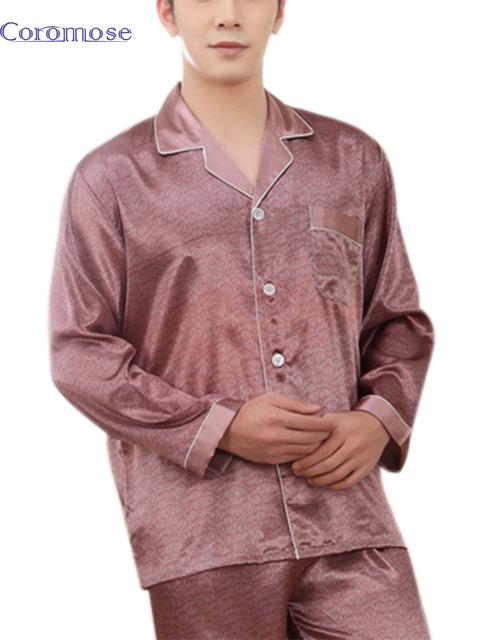 Pijama Nightwear Real 2016 Novos Conjuntos de Pijama Pijamas Dos Homens Turn-Down Collar Imitação de Seda Sleepwear Masculino Define Sleepcoat