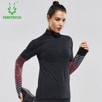 Vansydical Femmes Imprimé Chemises De Yoga Respirant Courir Gym Tops Col montant Vélo Formation T-Shirts À Manches Longues Sportswear