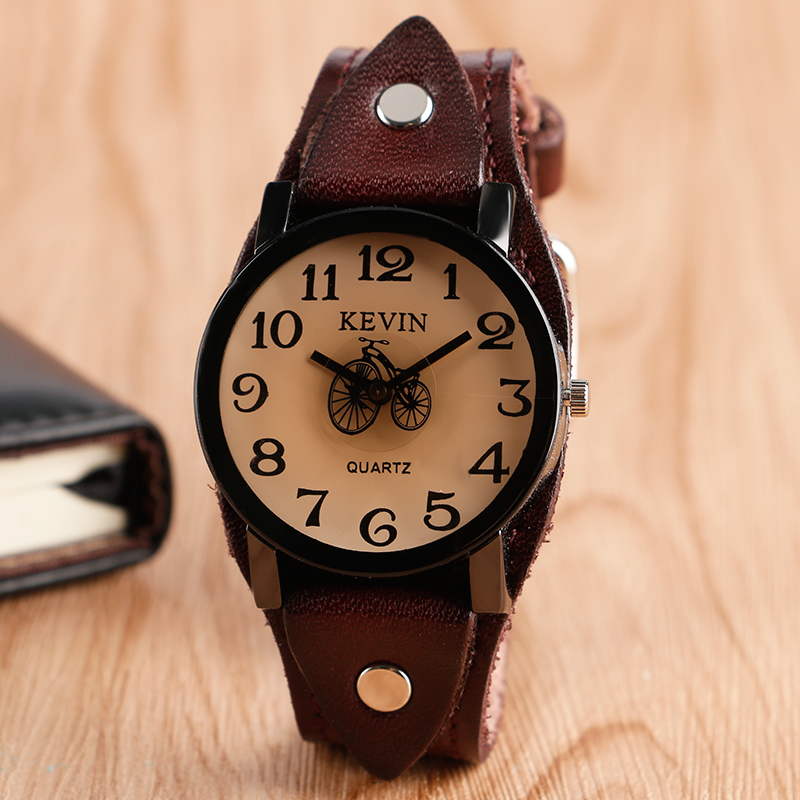2017 New Arrival Bicycle Simple Dial Men Wrist Watch Coffee Leather Band Strap Casual Hot sell Quartz Watches simple brown bamboo full wooden adjustable band strap analog wrist watch bangle minimalist new arrival hot women men nature wood