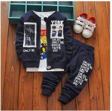 Boys 3PCS Pant Sets 100% Cotton 2017 Autumn Cartoons Letters Coat+T-shirts Casual Outfits Kids Sports Suits CHildren's Clothes