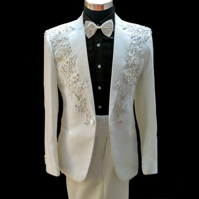 Latest Coat Pant Designs White Rhinestone Pattern Mens