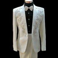 Latest Coat Pant Designs White Rhinestone Pattern Mens Suit Slim Fit Applique Costume Prom Men Tuxedo 2 Piece Terno X87