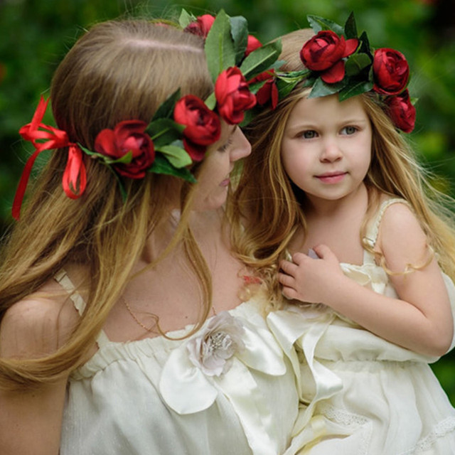 2PCS/lot Mommy And Kids Wreath Flower Headband Travel Flower Crown ...