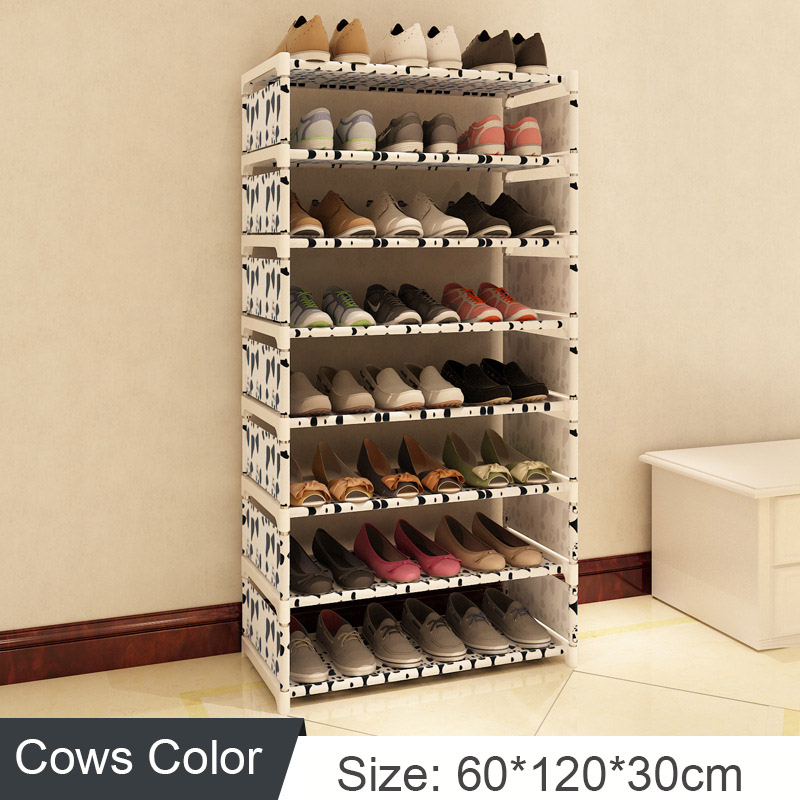 Shoe Rack Stand Assembly Stainless Steel Door Shoes Organizer multi-function Storage Cabinet space saver for Home Furniture 4 layers of simple dust proof moisture proof shoe rack thick non woven stainless steel shoe free assembly of home furniture