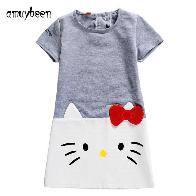 Amuybeen 2017 новая весна девушки hello kitty платье хлопок кошка с коротким рукавом девушки летом принцесса малыш платья серый детская одежда