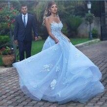 Açık mavi düğün elbisesi Boho dantel aplike kolsuz bir çizgi Vestidos De Novia 2019 gelinlik Vestido De Festa Longo