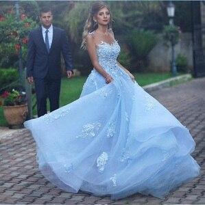 Image 1 - Licht Blau Hochzeit Kleid Boho Spitze Applique Sleeveless EINE Linie Vestidos De Novia 2019 Braut Kleid Vestido De Festa Longo