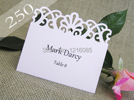 Wedding Placecards Lace Flourish Tent Place Cards Escort Card