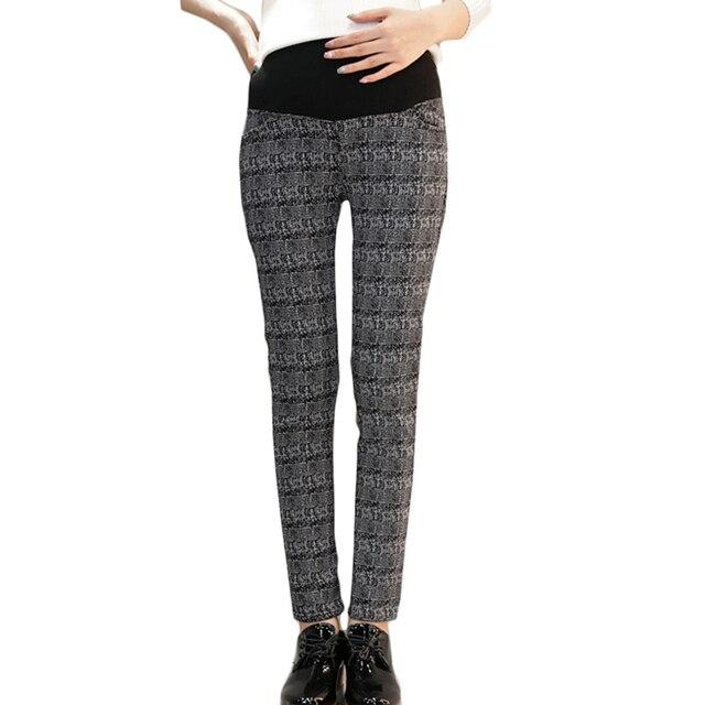 Теплый Карандаш Брюки Черный и белый плед леггинсы беременности брюки зимняя одежда для беременных брюки для беременных мода Утолщение
