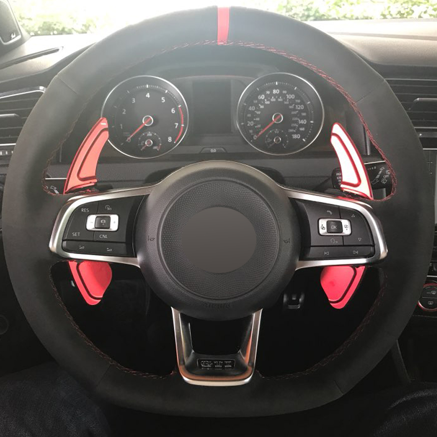 DIY Hand-stitched Black Suede Car Steering Wheel Cover for Volkswagen Golf 7 GTI Golf R MK7 VW Polo GTI Scirocco 2015 2016 leather car key cover case for volkswagen vw golf 7 mk7 gti golf7 polo 2015 skoda octavia a 7 a7 2015 auto key cover accessories