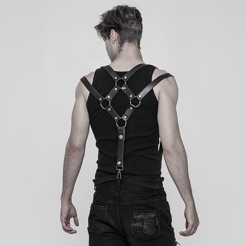 PUNK RAVE hommes Punk Rock pantalon bandoulière accessoires classique PU cuir métal crochets gothique fête Club noir hommes bretelles - 4
