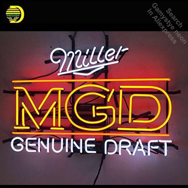 Neon Sign for Miller MGD Genuine Draft Neon Bulb sign Business Display Handmade Glass tube neon light personalised neon bar sign
