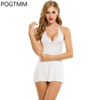 Lace Chemise Slip Dress Women Sleeveless V Neck Lingerie Sexy Erotic Hot Cotton Underwear Female Nightgown