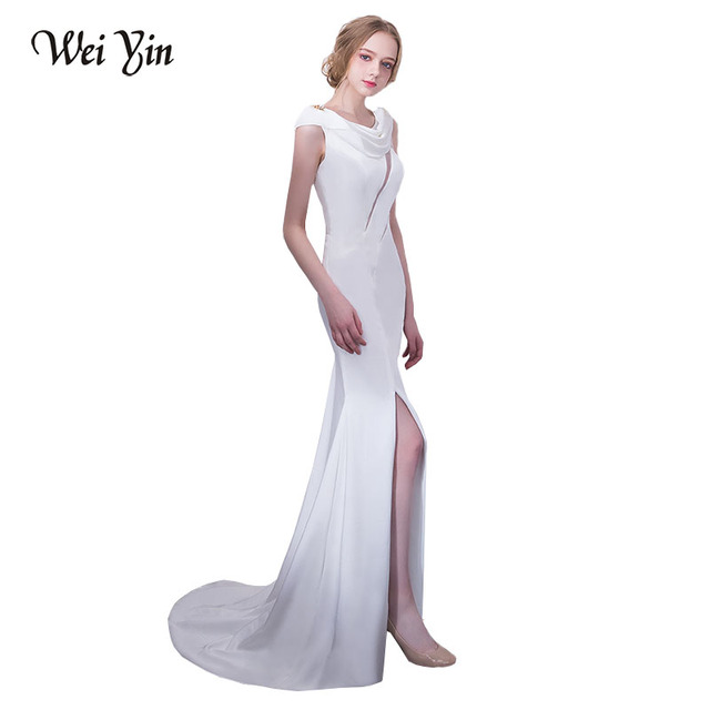 WEIYIN Real Photo Luxury Scoop Mermaid Long Evening Dresses Robe De Soiree  2018 Party Summer White Formal Dresses bfdd72780194