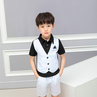 LUOBOBEIBEI kid clothes boy children summer 2019 toddler clothing 2 pieces teenage short top pant set black green school sets