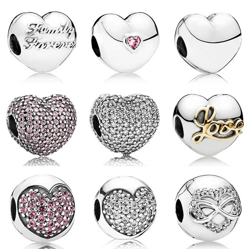 Family Union Open my Heart & Infinity Crystal Clip Lock Stopper Beads Fit Pandora Bracelet 925 Sterling Silver Charm Jewelry