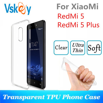 VSKEY 10PCS TPU Phone Case For Xiaomi RedMi 5 Plus High Bright Transparent Clear Ultra Thin Silicone Back Cover