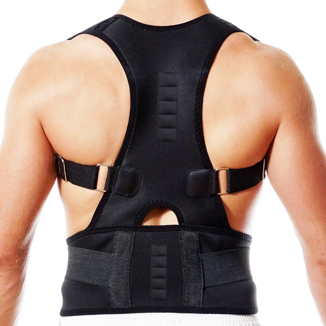 cinturón de apoyo Lumbar Corsé Corrector de postura recto con soporte para cinturón de apoyo Lumbar con hombro trasero magnético ajustable Unisex OPHAX