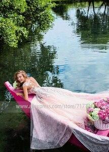 Image 4 - Amazing ลูกไม้ Tulle อัญมณี A Line ชุดแต่งงานกับลูกปัดภาพลวงตากลับ Applique สีชมพูชุดเจ้าสาว vestido de novia