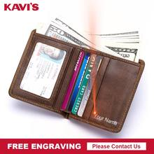 KAVIS Genuine Cowhide Leather Free Engraving Men's Small Wallet Crazy Money Purses Male Credit Cards Holder Carteira Walet Male(China)