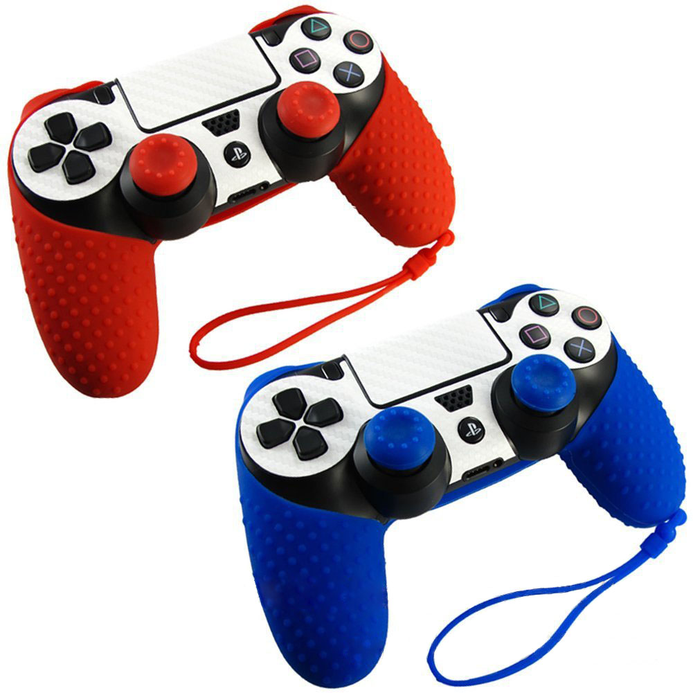 Silicone <font><b>Case</b></font> For Playstation 4 <font><b>ps4</b></font> controller <font><b>case</b></font> Non-slip+JoyStick Caps for Dualshock 4 <font><b>ps4</b></font> Gamepad protector Silicona <font><b>PS4</b></font> image