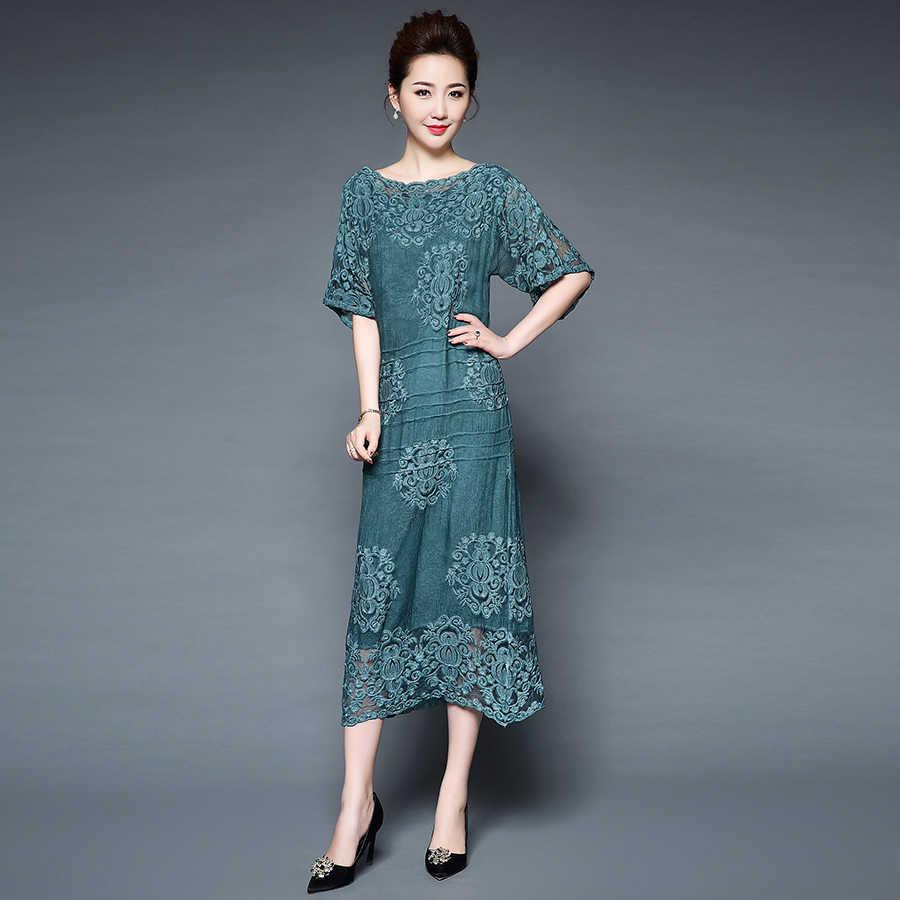 72f07e51da7 Новое поступление шелковые платья женские элегантные длинные свободные  винтажные платья с вышивкой Женские Модные Качественные расклешенные