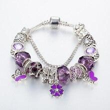 High quality purple glass crystal bracelet jewelry glass beads ladies pendants bracelets
