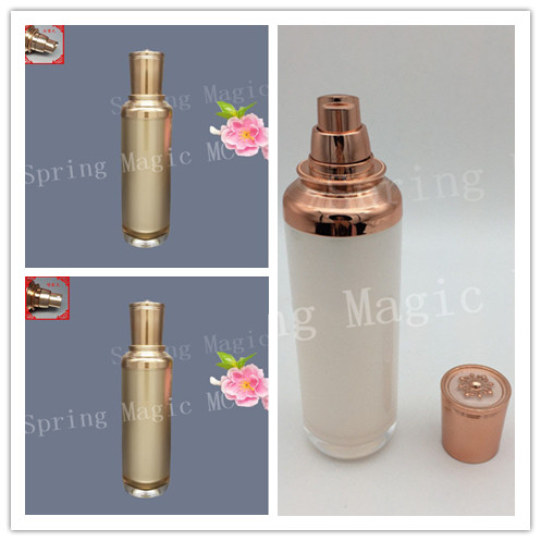 High end Cosmetic Packaging Perfume BottleS 100ml Acrylic Flat Top Crown Bottle Symphony Pearl White Gold
