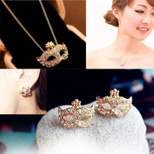 X76 Personality Austrian Crystal Jewelry Set For Women Gold/Silver Color Mark Style Necklace&Earrings Sets Parure Bijoux Femme(China)