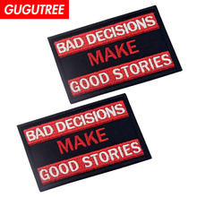 GUGUTREE embroidery HOOK&LOOP letter patch alphabet patches badges applique for clothing AD-182