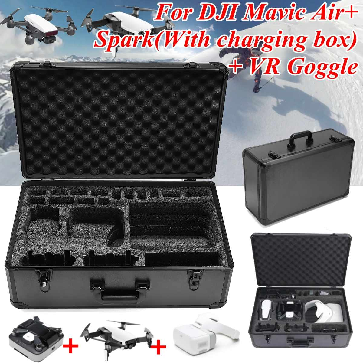 Aluminum alloy carrying case for DJI Mavic Air Spark VR Google in black colour with EPE large capacity and lightweightAluminum alloy carrying case for DJI Mavic Air Spark VR Google in black colour with EPE large capacity and lightweight