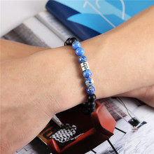 Zodiac Sign Blue Beads Matte Stone Bracelets