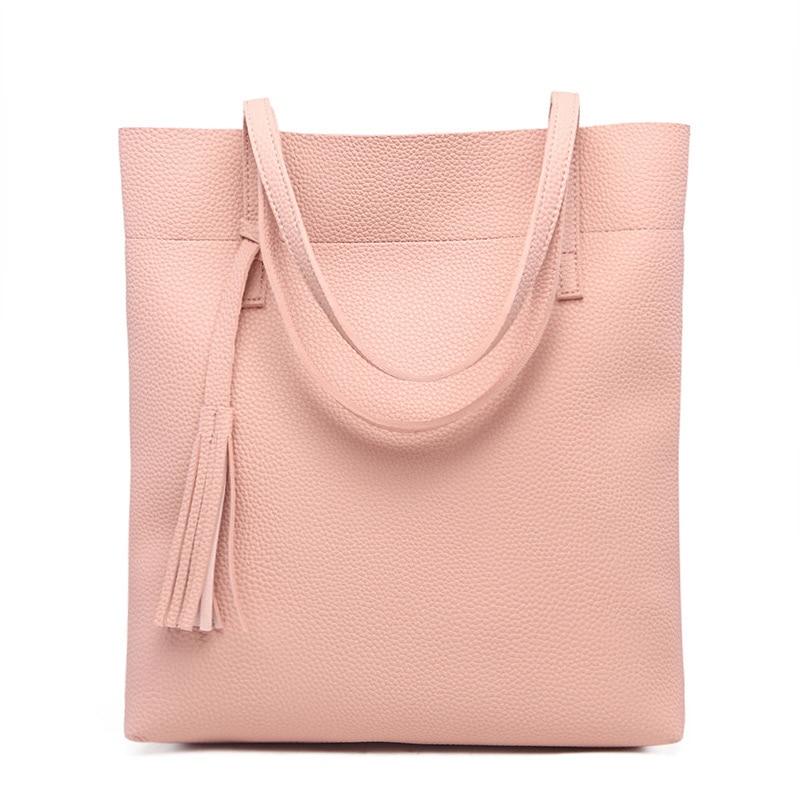 10 Colors Women\'S Soft Leather Handbags Women Shoulder Bags Luxury Tassel Bucket Women Bag