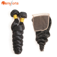 Remy Forte Raw Indian Hair Bundles With Closure Loose Wave Bundles With Closure Natural Black 2 Bundles With 4x4 Closure