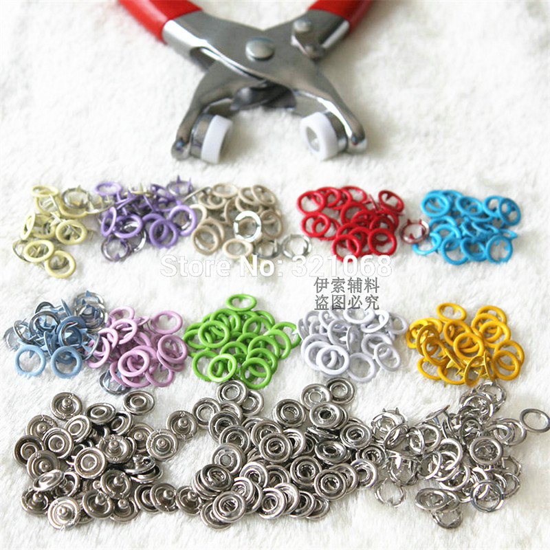 200 sets of 9.5 mm hollow 10 color metal brass buckle, wholesale children 's button + installation pliers