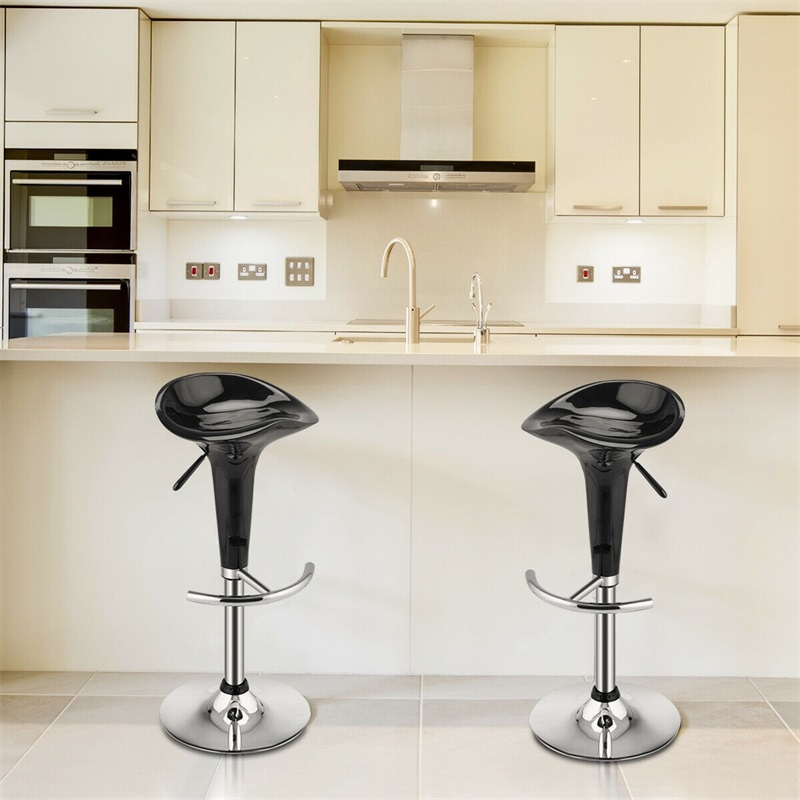 High Quality Set Of 2 Modern Bombo Style Swivel Bar Stools Adjustabl Modern Home Steel Heavy Duty ABS Plastic Stools HW51432BK