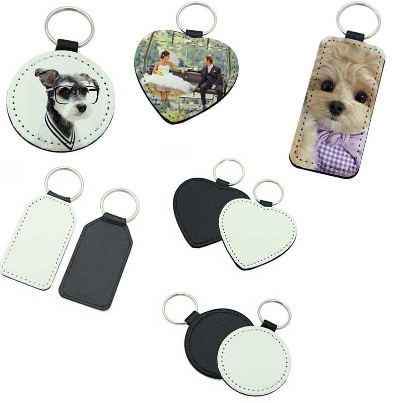 New Sublimation Blank Leather Keychains Fillet Rectangle Heart Round Key Ring Hot Transfer Printing Custom Consumables 20pcs/lot