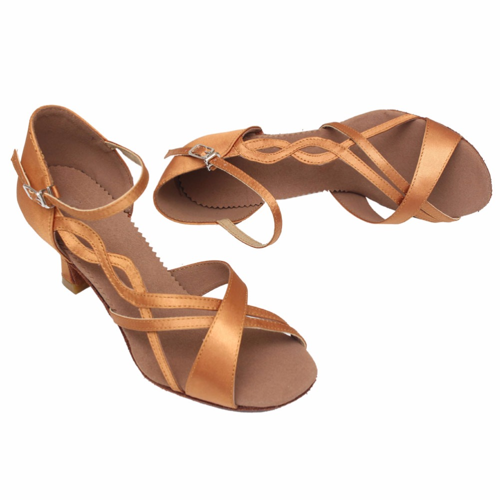 New Womens Ballroom Party Latin Tango Dance Shoes Open Toe Satin Dancing Heels Salsa Shoes 5cm/7cm Height Sandals