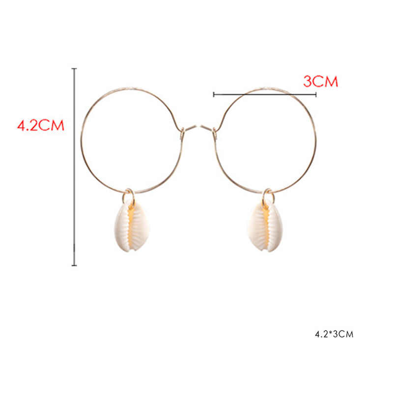 Female 2018 Minimalist Ethnic Engagement Wedding Jewelry Golden Round with Shell Dangle Drop Earrings for Women Accessories Gift