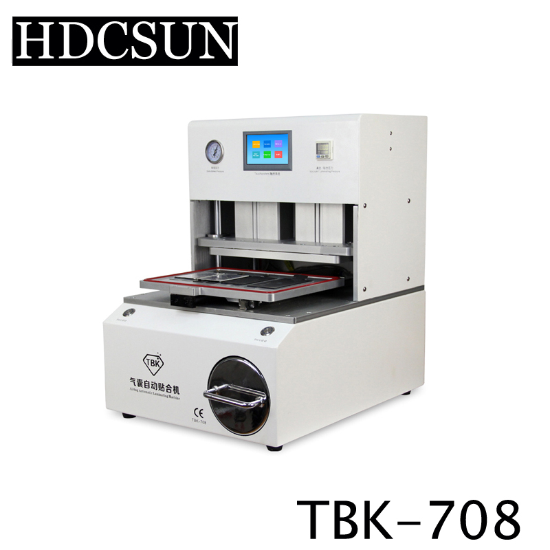TBK 708 for Curved Screen OCA LCD Laminating Machine for S6 edge S7 edge Bubble Remover Built-in Vacuum Pump Air Compressor 5pcs lot oca vacuum laminating machine pressure screen bubble film bubble sponge rubber pad universal mould 260 200mm