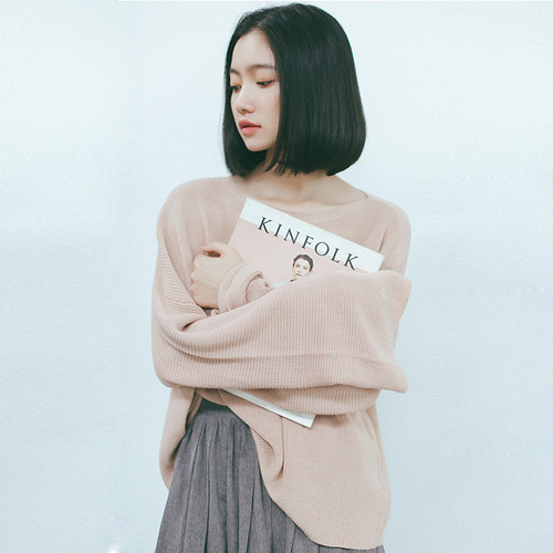 2017 Spring Pullover Women Korean Style Flare Sleeve Casual Oversized Sweater Knitwear Brief Solid Color Pink Gray sueter mujer