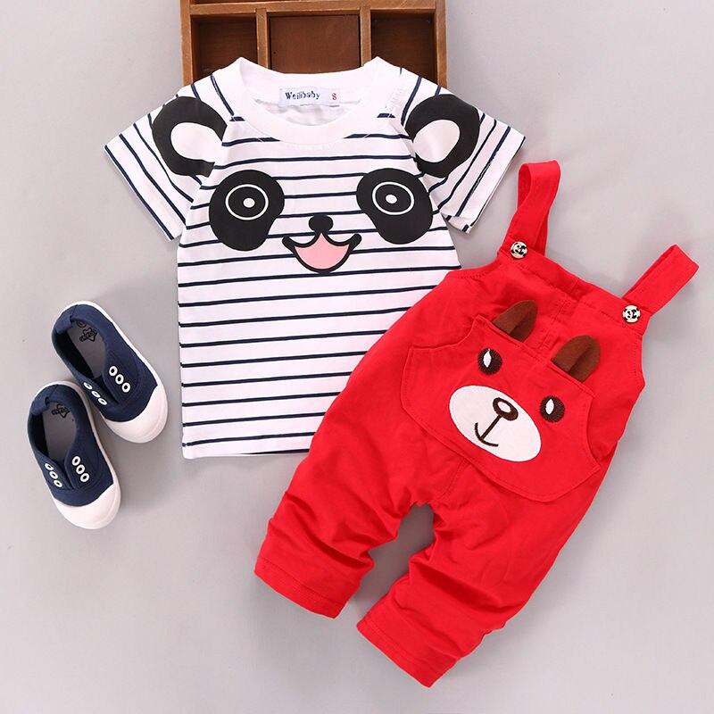 Летняя Новинка для мальчиков и девочек хлопок, с коротким рукавом, на ремешке, комплект с изображением животных из мультфильмов От 0 до 2 лет детская одежда - Цвет: H18-RED