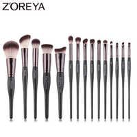 Zoreya Marca Alta Qualidade 15 pcs Cabelo Sintético Pincéis De Maquiagem dos olhos sombra em pó lábio Crease Brush Set